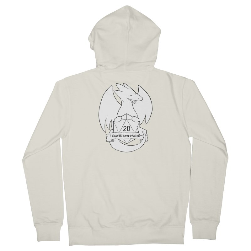 Chaotic Good Dragon Black and White Women's French Terry Zip-Up Hoody by DnDoggos's Artist Shop