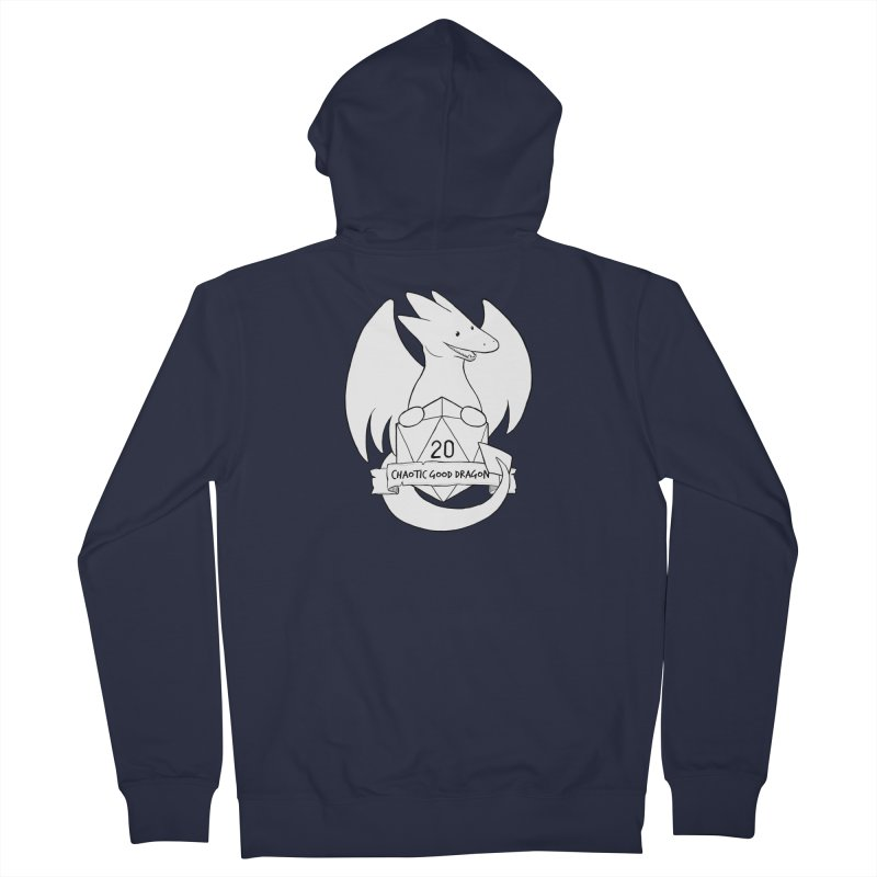 Chaotic Good Dragon Black and White Men's French Terry Zip-Up Hoody by DnDoggos's Artist Shop