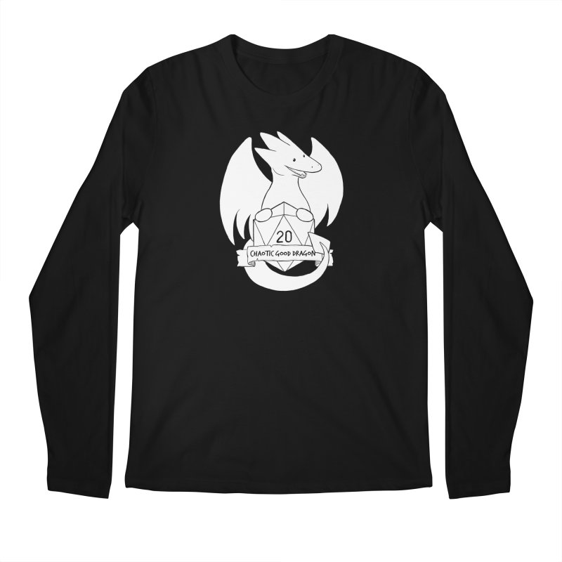 Chaotic Good Dragon Black and White Men's Regular Longsleeve T-Shirt by DnDoggos's Artist Shop