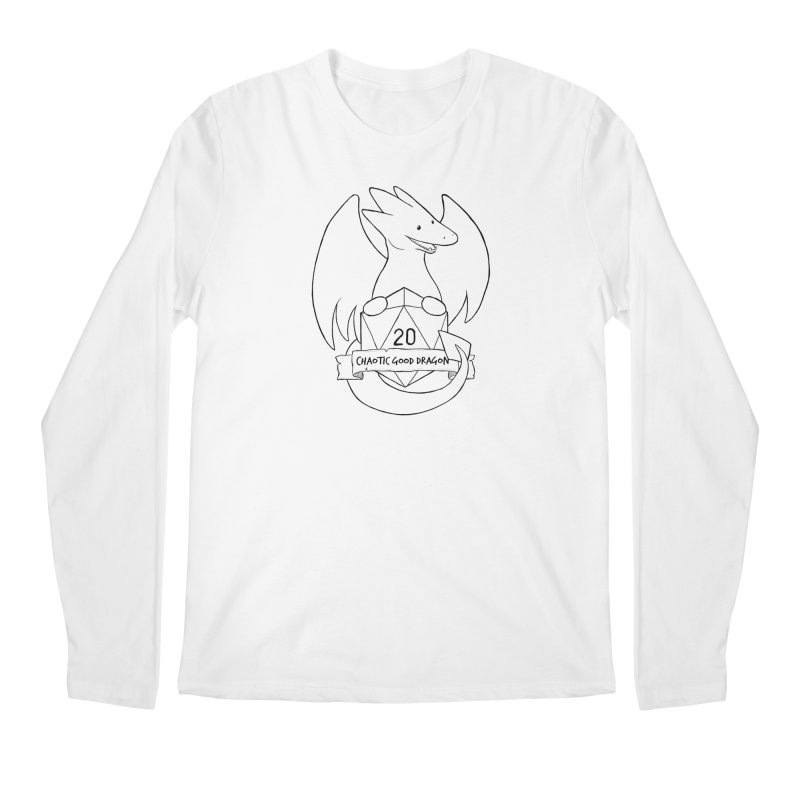 Chaotic Good Dragon Black and White Men's Regular Longsleeve T-Shirt by DnDoggos's Artist Shop