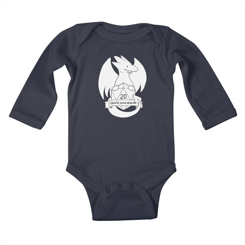 Chaotic Good Dragon Black and White Kids Baby Longsleeve Bodysuit by DnDoggos's Artist Shop