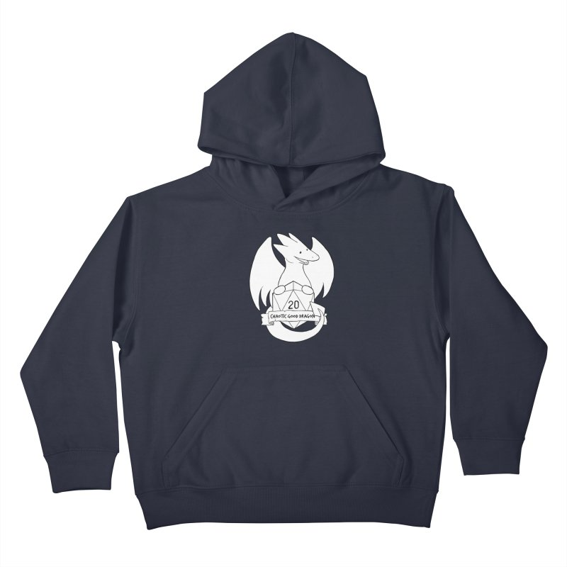 Chaotic Good Dragon Black and White Kids Pullover Hoody by DnDoggos's Artist Shop
