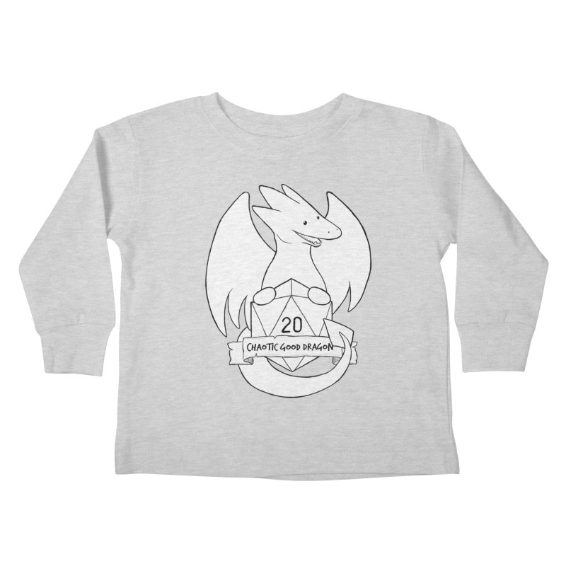 Chaotic Good Dragon Black and White Kids Toddler Longsleeve T-Shirt by DnDoggos's Artist Shop