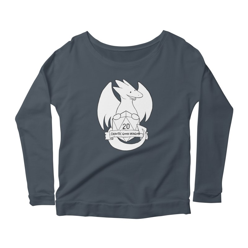 Chaotic Good Dragon Black and White Women's Scoop Neck Longsleeve T-Shirt by DnDoggos's Artist Shop