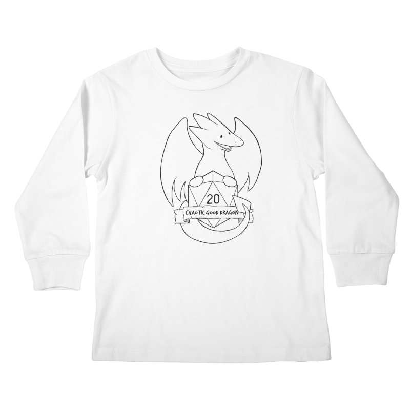Chaotic Good Dragon Black and White Kids Longsleeve T-Shirt by DnDoggos's Artist Shop