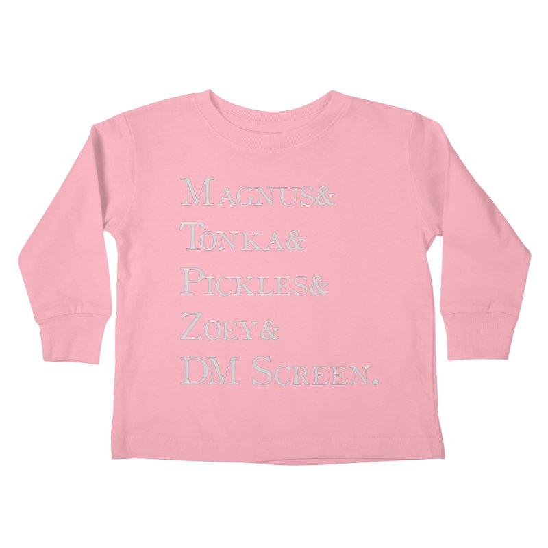 Magnus&Tonka&Pickles&Zoey&DM Screen Kids Toddler Longsleeve T-Shirt by DnDoggos's Artist Shop