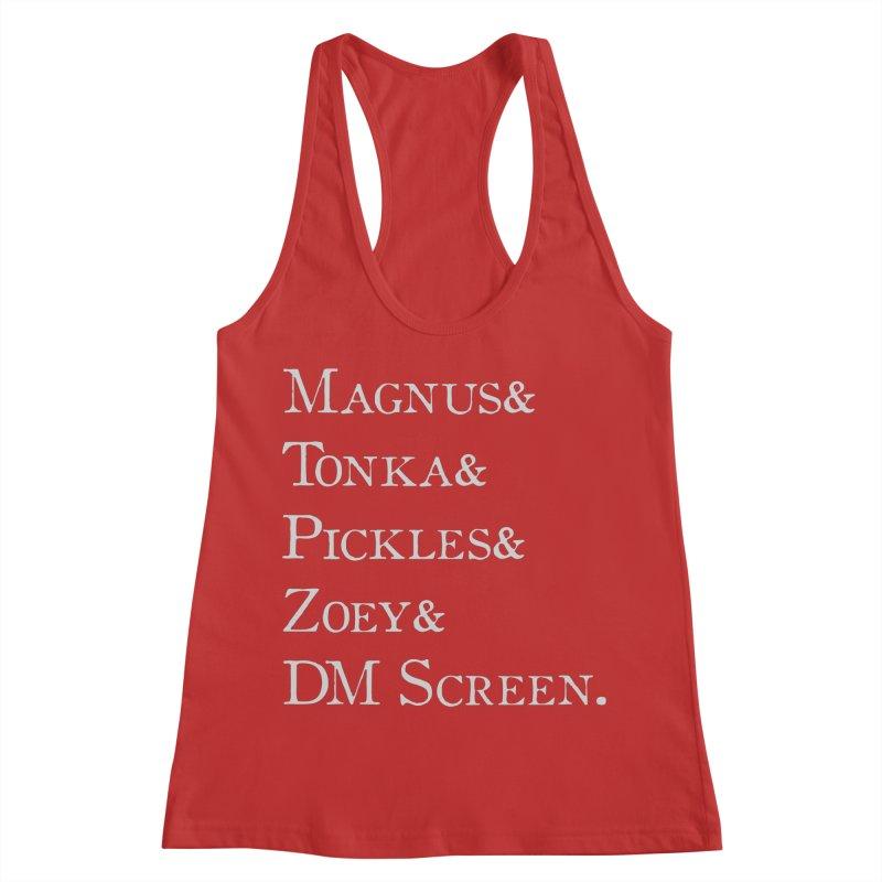 Magnus&Tonka&Pickles&Zoey&DM Screen Women's Racerback Tank by DnDoggos's Artist Shop