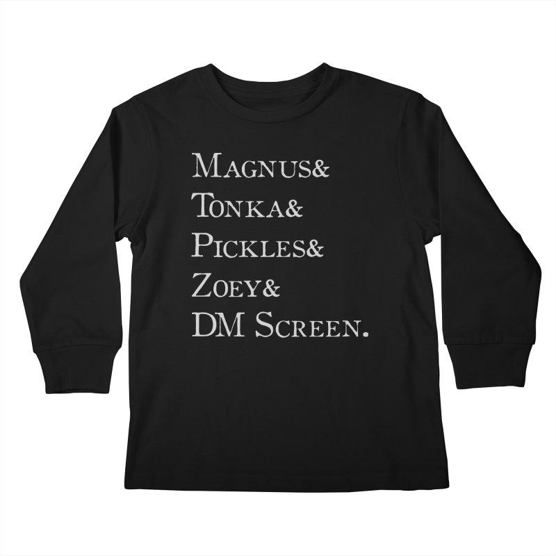 Magnus&Tonka&Pickles&Zoey&DM Screen Kids Longsleeve T-Shirt by DnDoggos's Artist Shop