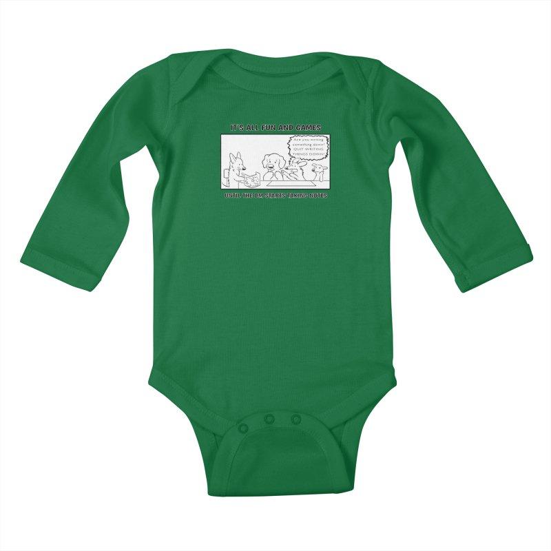 Until The DM Starts Taking Notes Kids Baby Longsleeve Bodysuit by DnDoggos's Artist Shop