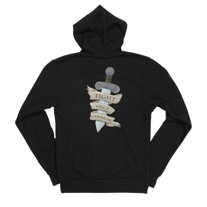 Fight Like a Gherkin Men's Sponge Fleece Zip-Up Hoody by DnDoggos's Artist Shop