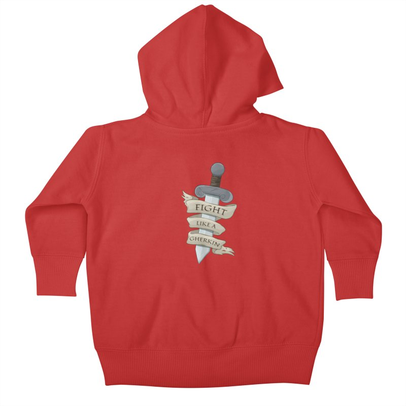 Fight Like a Gherkin Kids Baby Zip-Up Hoody by DnDoggos's Artist Shop