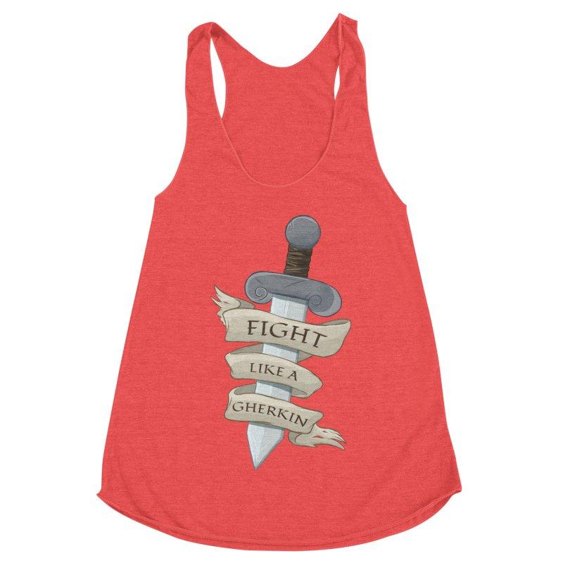 Fight Like a Gherkin Women's Racerback Triblend Tank by DnDoggos's Artist Shop