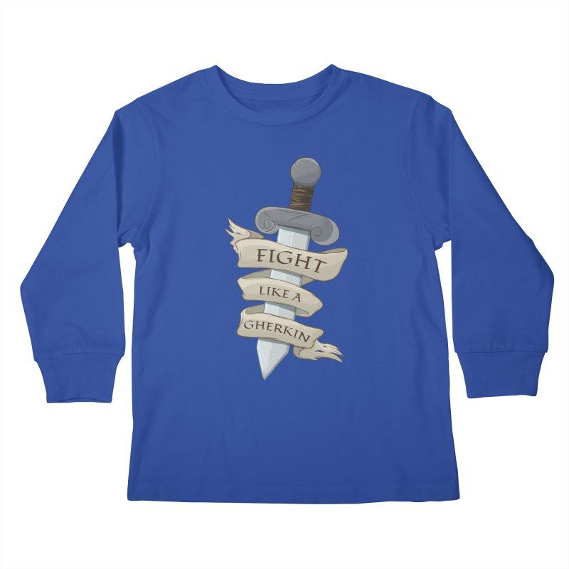Fight Like a Gherkin Kids Longsleeve T-Shirt by DnDoggos's Artist Shop