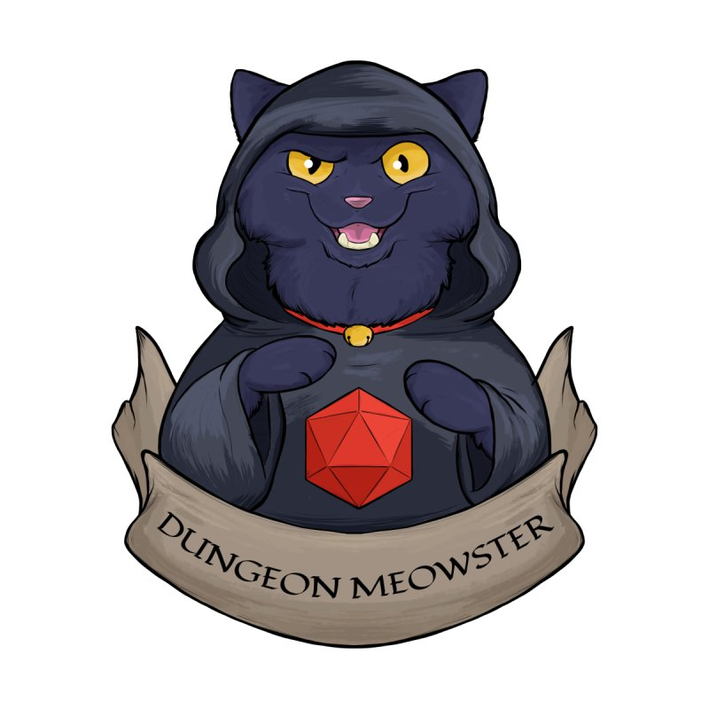 Dungeon Meowster Black Kitty Accessories Sticker by DnDoggos's Artist Shop