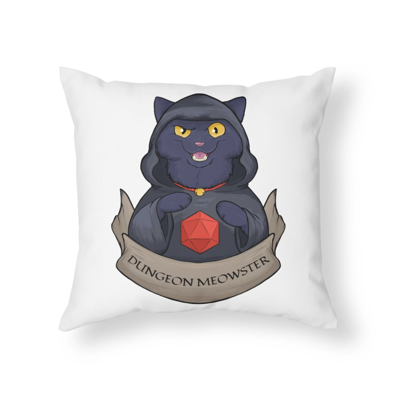 Dungeon Meowster Black Kitty Home Throw Pillow by DnDoggos's Artist Shop