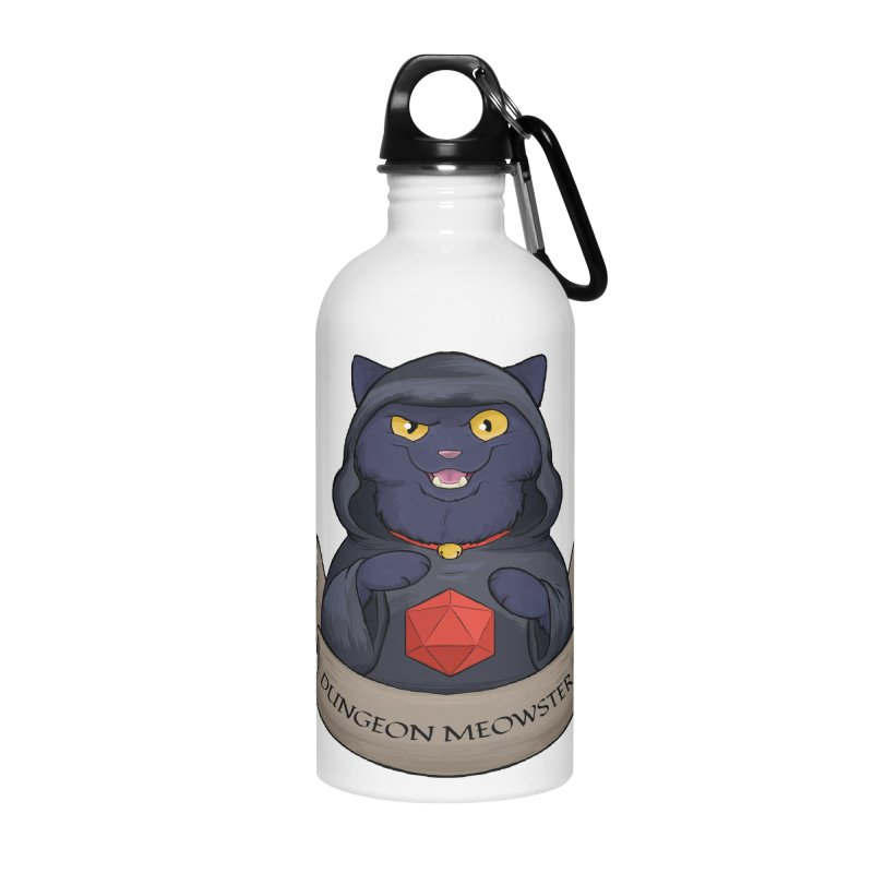 Dungeon Meowster Black Kitty Accessories Water Bottle by DnDoggos's Artist Shop