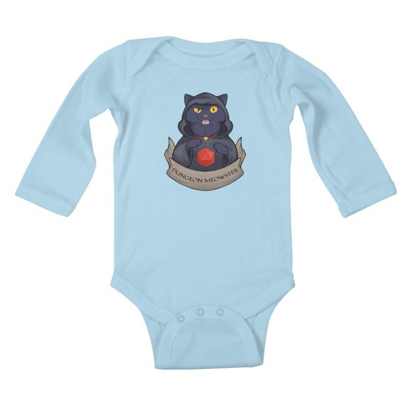 Dungeon Meowster Black Kitty Kids Baby Longsleeve Bodysuit by DnDoggos's Artist Shop