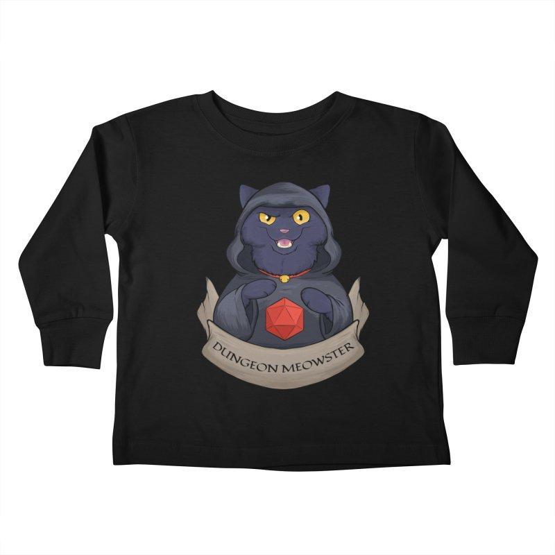 Dungeon Meowster Black Kitty Kids Toddler Longsleeve T-Shirt by DnDoggos's Artist Shop
