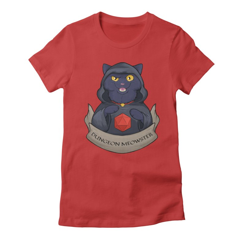 Dungeon Meowster Black Kitty Women's Fitted T-Shirt by DnDoggos's Artist Shop