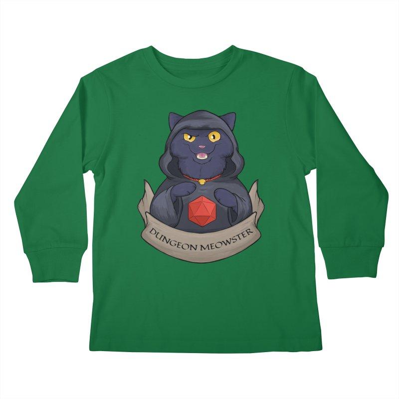 Dungeon Meowster Black Kitty Kids Longsleeve T-Shirt by DnDoggos's Artist Shop