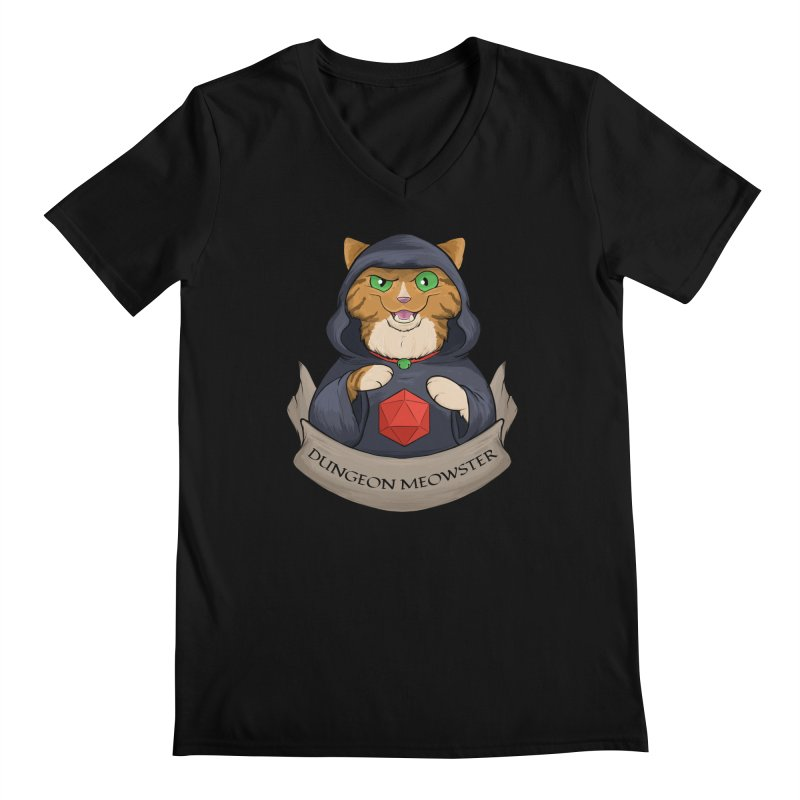 Dungeon Meowster Tabby Kitty Men's Regular V-Neck by DnDoggos's Artist Shop