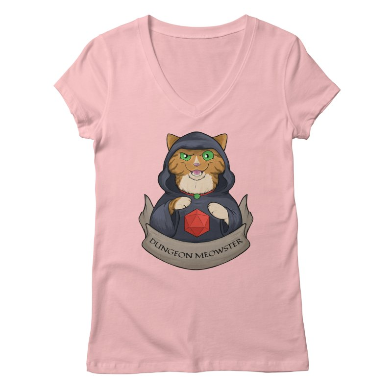 Dungeon Meowster Tabby Kitty Women's Regular V-Neck by DnDoggos's Artist Shop