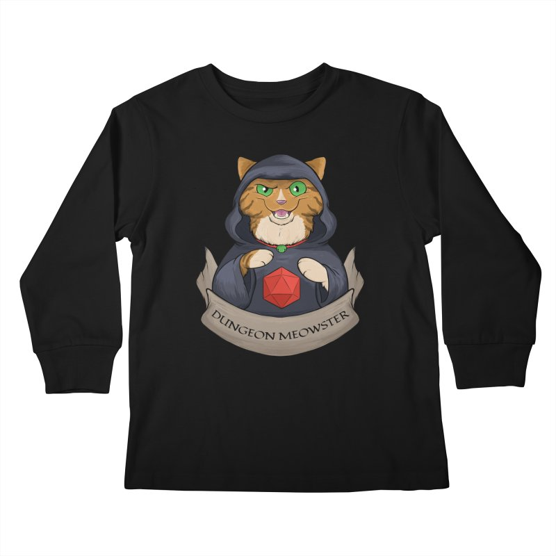 Dungeon Meowster Tabby Kitty Kids Longsleeve T-Shirt by DnDoggos's Artist Shop