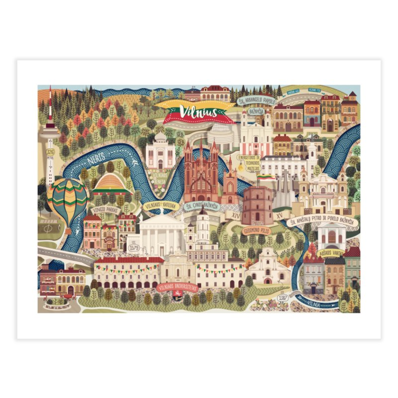 Vilnius, the capital of Lithuania Home Fine Art Print by dnipro's Artist Shop