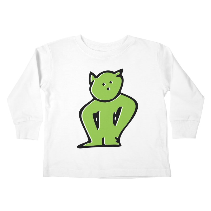 Dusty Cartoon Green Kids Toddler Longsleeve T-Shirt by Doctacon's Artist Shop