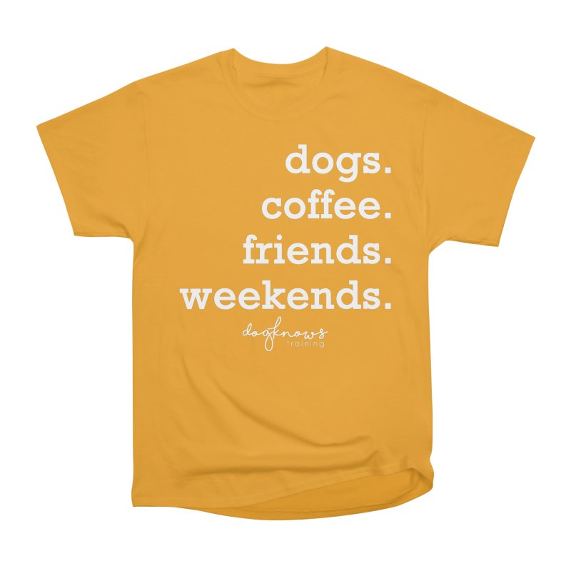 dogs. coffee. friends. weekends. Men's Heavyweight T-Shirt by DogKnows Shop