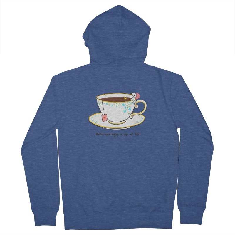 Relax & Enjoy a Cup of Tea Women's Zip-Up Hoody by Dollgift by Charllotte Ashlie