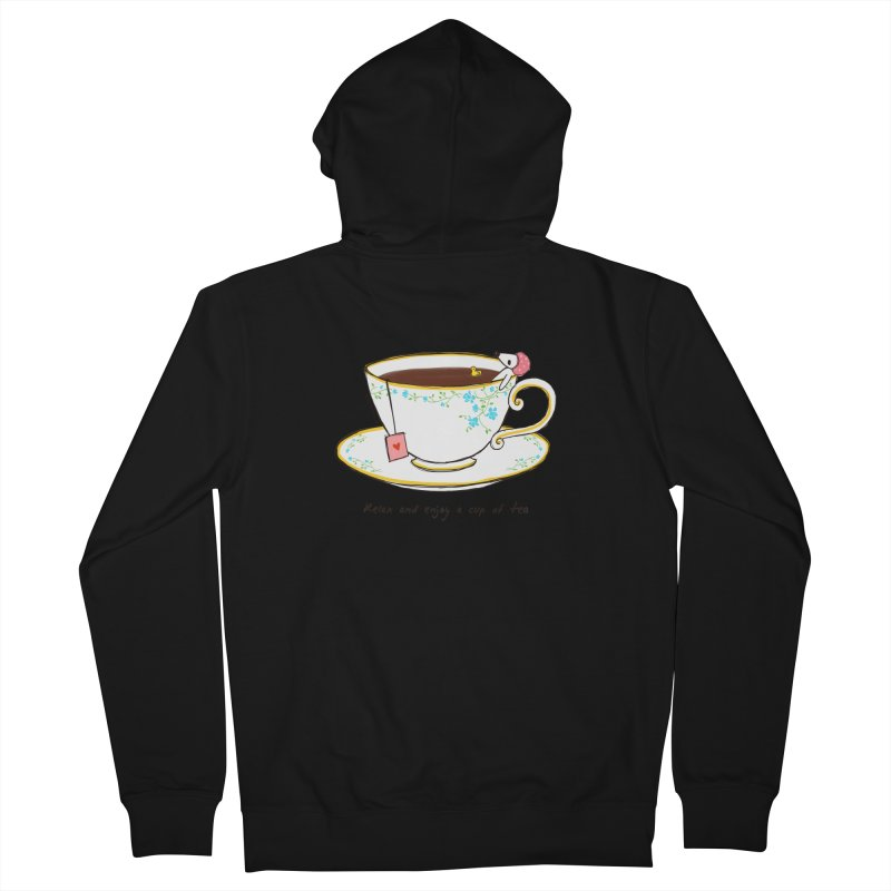 Relax & Enjoy a Cup of Tea Men's Zip-Up Hoody by Dollgift by Charllotte Ashlie