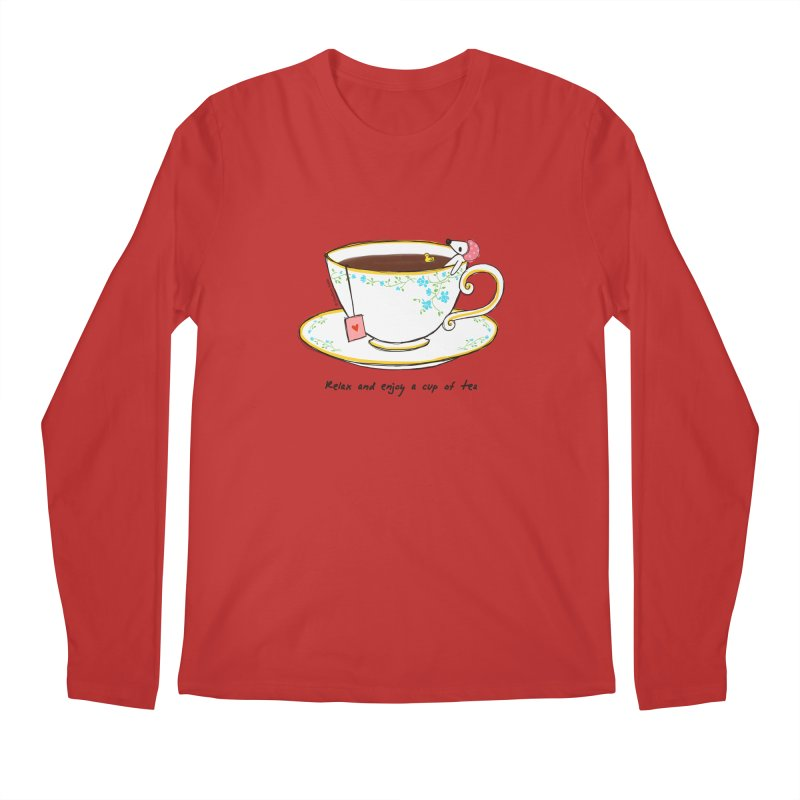 Relax & Enjoy a Cup of Tea Men's Longsleeve T-Shirt by Dollgift by Charllotte Ashlie