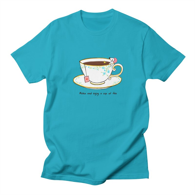 Relax & Enjoy a Cup of Tea Men's T-Shirt by Dollgift by Charllotte Ashlie