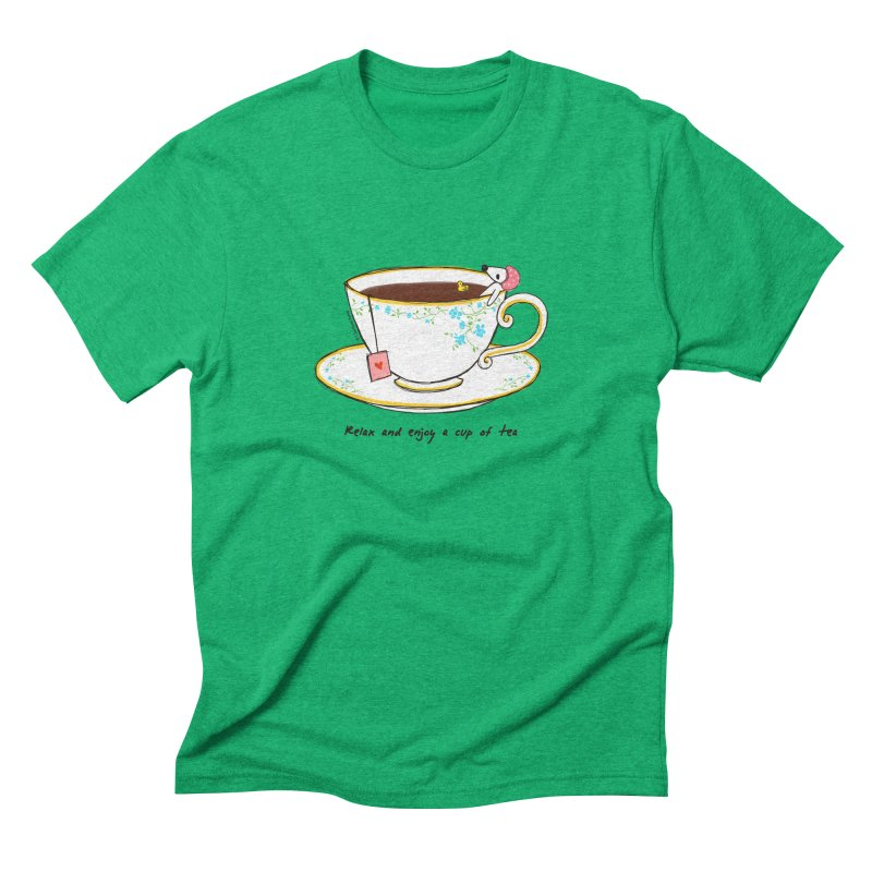 Relax & Enjoy a Cup of Tea Men's Triblend T-Shirt by Dollgift by Charllotte Ashlie