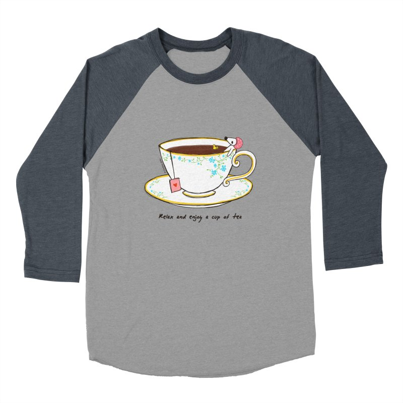 Relax & Enjoy a Cup of Tea Men's Baseball Triblend T-Shirt by Dollgift by Charllotte Ashlie