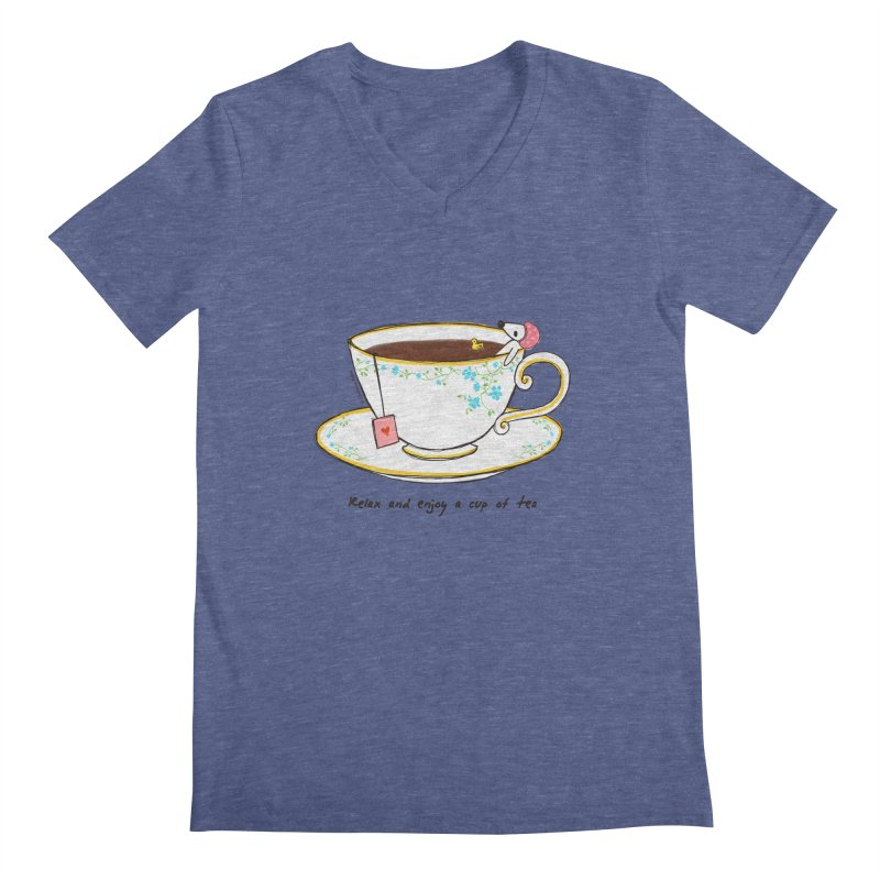 Relax & Enjoy a Cup of Tea Men's V-Neck by Dollgift by Charllotte Ashlie