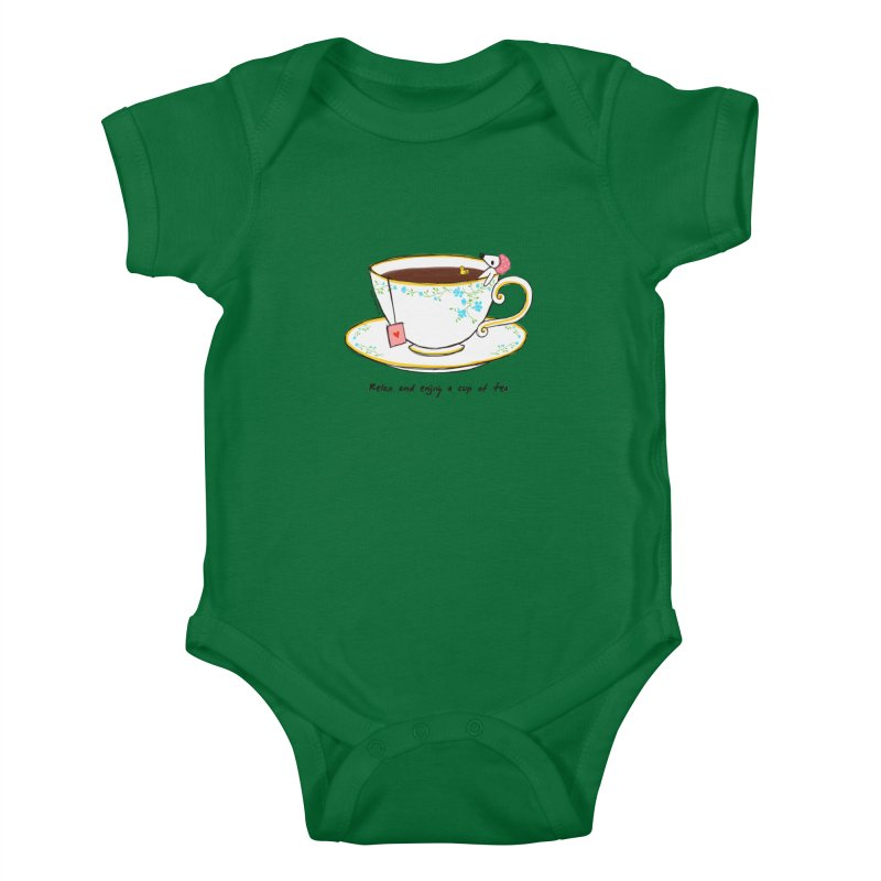 Relax & Enjoy a Cup of Tea Kids Baby Bodysuit by Dollgift by Charllotte Ashlie