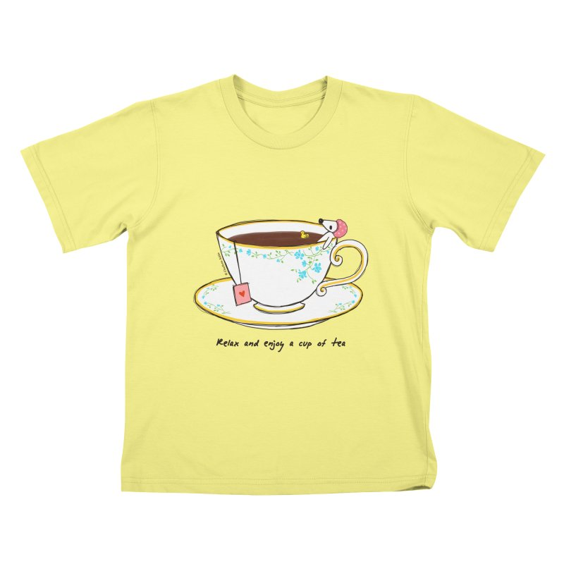 Relax & Enjoy a Cup of Tea Kids T-shirt by Dollgift by Charllotte Ashlie