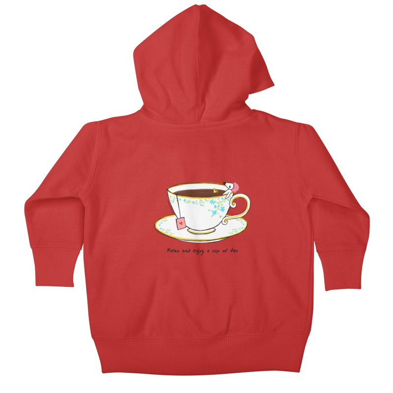 Relax & Enjoy a Cup of Tea Kids Baby Zip-Up Hoody by Dollgift by Charllotte Ashlie