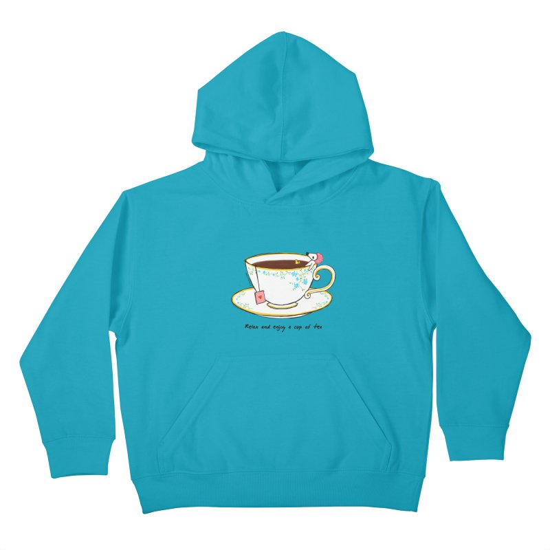 Relax & Enjoy a Cup of Tea Kids Pullover Hoody by Dollgift by Charllotte Ashlie