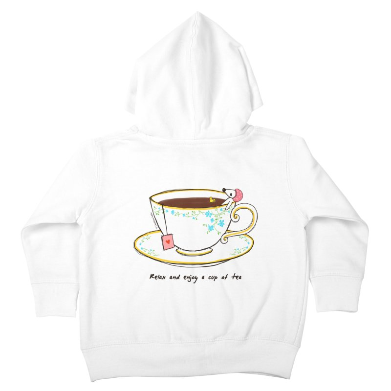 Relax & Enjoy a Cup of Tea Kids Toddler Zip-Up Hoody by Dollgift by Charllotte Ashlie
