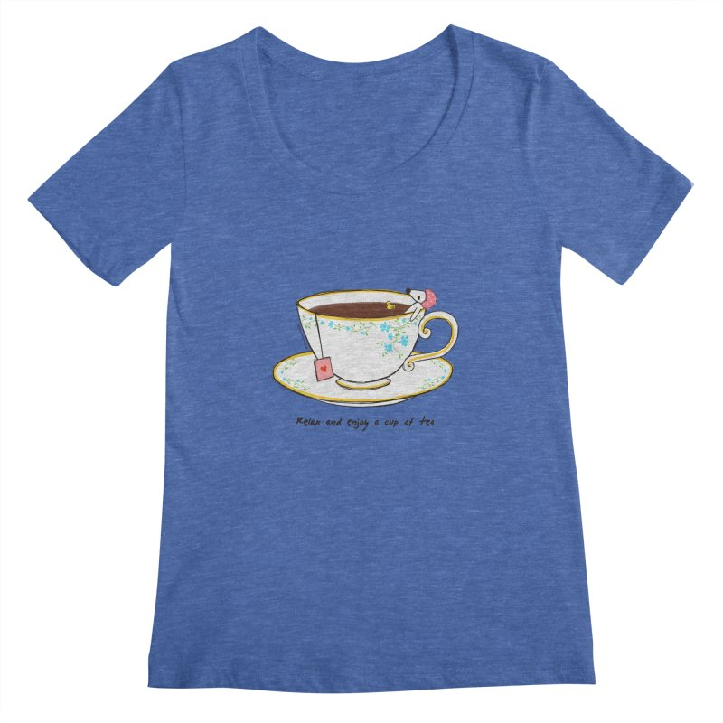 Relax & Enjoy a Cup of Tea Women's Scoopneck by Dollgift by Charllotte Ashlie