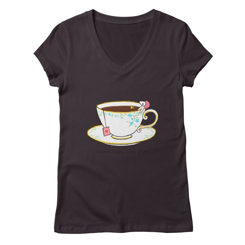 Relax & Enjoy a Cup of Tea Women's V-Neck by Dollgift by Charllotte Ashlie