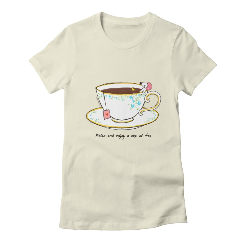 Relax & Enjoy a Cup of Tea Women's Fitted T-Shirt by Dollgift by Charllotte Ashlie