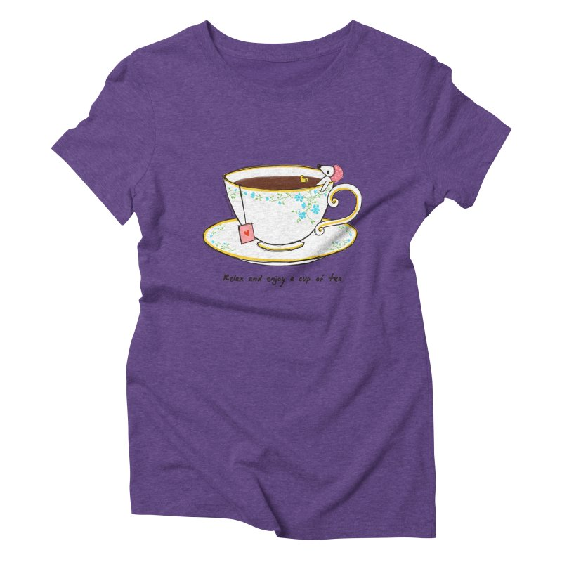 Relax & Enjoy a Cup of Tea Women's Triblend T-Shirt by Dollgift by Charllotte Ashlie