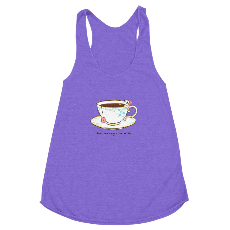 Relax & Enjoy a Cup of Tea Women's Racerback Triblend Tank by Dollgift by Charllotte Ashlie