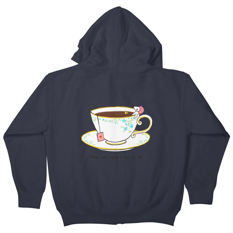Relax & Enjoy a Cup of Tea Kids Zip-Up Hoody by Dollgift by Charllotte Ashlie
