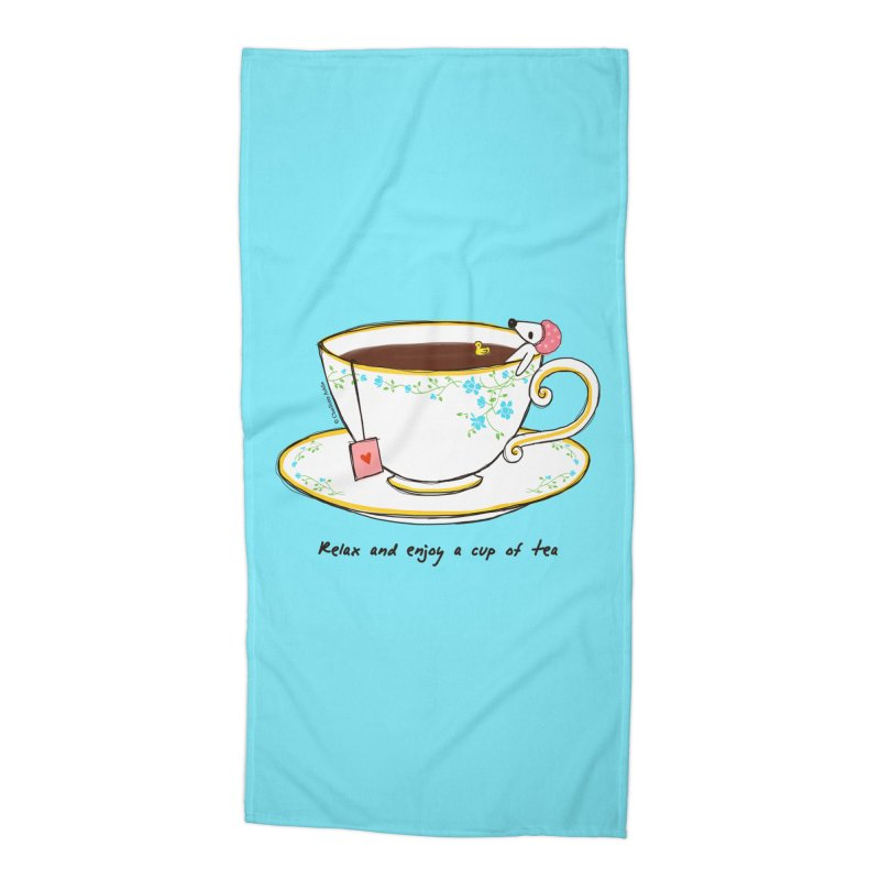 Relax & Enjoy a Cup of Tea Accessories Beach Towel by Dollgift by Charllotte Ashlie
