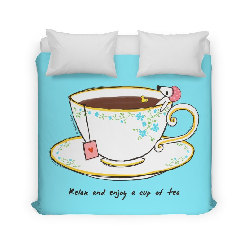 Relax & Enjoy a Cup of Tea Home Duvet by Dollgift by Charllotte Ashlie